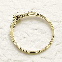 ダイヤモンドリング ハッピー7石 ダイヤリング イエローゴールドK10 指輪 10金 ピンキーリング 天然ダイヤモンド0.15ct 送料無料 diaring