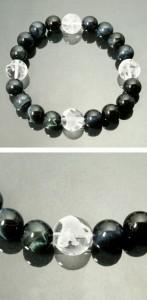 風水 四神獣手彫り水晶12mm玉◆ブルータイガーアイブレスレット (メンズLサイズ)/天然石/メンズ/パワーストーン/ギフト