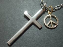 ユニセックスクロス&ピースマークネックレス・メール便(ゆうパケット)なら送料無料・十字架・Rock・ゴスロリ・ロック・M-1475