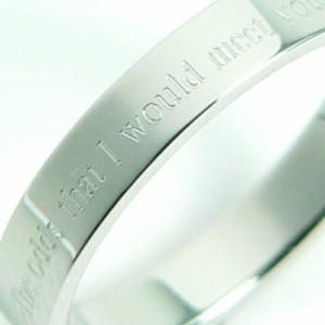 ★刻印リング 細め [7号] ステンレスリング ペアリング ピンキーリング メンズ レディース ペア 指輪 【SR1】