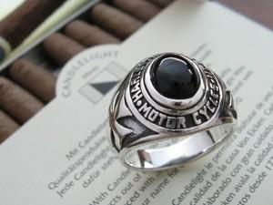 【送料無料】ハーレーオーバル ■オニキスカレッジリング■シルバーSV925/HR指輪/シルバーリング/メンズリング/指輪