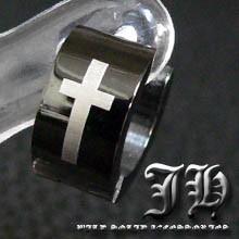 ★1個売り ステンレス ピアス 片耳 フープ ブラック 黒 クロス 十字架 【sp13】