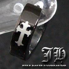 【sp14】小悪魔ピアス♪1個売り!!最高級ステンレスsvピアス!!★クロス十字架/ブラック黒