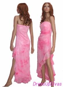 裾レースクリアスパンコールラインフリルベアドレス