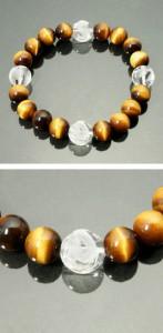 ◆風水・四神獣手彫り水晶12mm玉◆ タイガーアイ(黄トラ目石)ブレスレット (メンズLサイズ)/天然石/メンズ/パワーストーン/ギフト