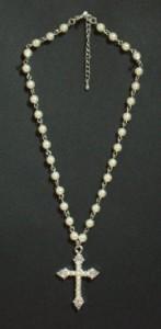 ラインストーンクロス&パールネックレス・メール便(ゆうパケット)なら送料無料・十字架・ゴスロリ・真珠・姫系・N-1139