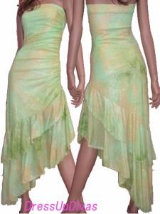 激安高級☆裾2段フリルラメサイドシャーリングベアドレス