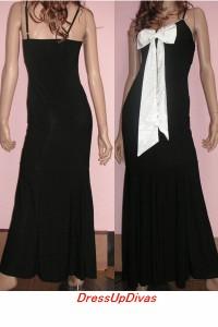 姫☆サテンリボンキャミロングドレス★黒×黒リボンで完売★キャバ ストレッチ