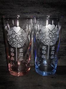 ★名入れロングペアグラス♪<愛ラブラブ>誕生祝・結婚祝・プレゼントに!