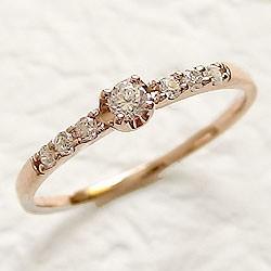 ダイヤモンドリング ハッピー7石 ダイヤリング ピンクゴールドK10 指輪 10金 ピンキーリング 天然ダイヤモンド0.15ct 送料無料 diaring