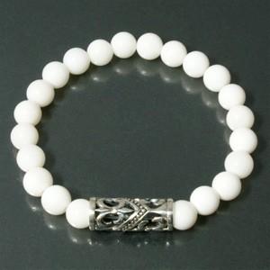 ◆ユリデザイン・シルバーパーツ◆ ホワイトオニキスブレスレット (メンズM、Lサイズ)