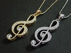 ラインストーン音符ネックレス・ト音記号大・メール便(ゆうパケット)なら送料無料・音符・V系・バンギャ・音楽・Music・N-159