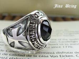 【送料無料】■ミラーカットオニキス■アイアンクロス ハーレーカレッジリング■シルバーSV925/HR/シルバーリング/メンズリング/指輪
