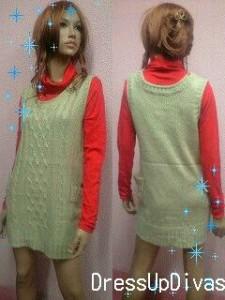 タートルネックインナーやセーターと好相性★ベスト風ポカポカ着やせニットワンピ★大きいサイズの方にも