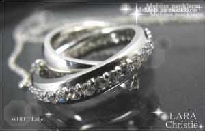 送料無料永遠に輝く二つの輪が二人の愛を*シルバー925メビウスネックレス[WHITE Label]p3884