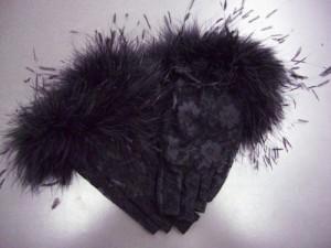 ネイルOK レースファー手袋黒(指先なし) 振袖成人式&卒業式袴・着物・ドレスに