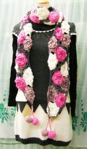 2着で5千円送料無料薔薇園に包まれて♪ほっこりバラづくし♪ガーリーローズのハッピーマフラー♪