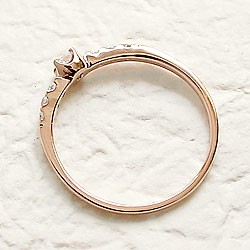 ダイヤモンドリング ハッピー7石 ダイヤリング ピンクゴールドK18 指輪 18金 ピンキーリング 天然ダイヤモンド0.15ct 送料無料 diaring