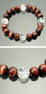 ◆風水・四神獣手彫り水晶12mm玉◆ レッドタイガーアイ(赤トラ目石)ブレスレット (メンズLサイズ)