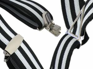 【日本製】ボーダー サスペンダー◆2ライン★ブラックホワイト