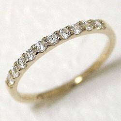 エタニティリング ダイヤリング イエローゴールドK10 指輪 10金 ピンキーリング 天然ダイヤモンド 0.20ct 送料無料 diaring