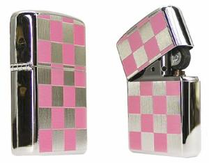 【ZIPPO】チェック柄ジッポー ピンク★チョットおしゃれなデザインカラー