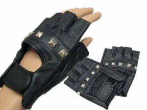 ピラミッドスタッズ合皮指なし手袋★ブラック