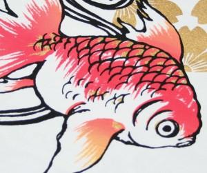 """【1】和柄Tシャツ """"きんぎょ""""【メール便対応/若き着物職人が創作する手染和柄/新撰組でお馴染みの壬生からお届け】"""