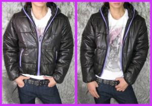 カラーZIP シレー加工中綿ブルゾン★黒×紫ZIP(型番D-23)メンズ アウター