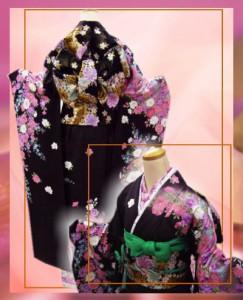 セミオーダー正絹ブランド振袖ぜ〜んぶ揃った豪華フルセット★PATTiPATT濃茶地彩ブーケフラワー