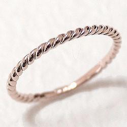 ツイストリング ひねり線 ピンクゴールドK18 地金指輪 18金 ピンキーリング スパイラルリング 究極ring