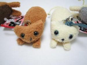 猫好きに!キャットストラップ【ミィー】ふきふき猫 茶ネコ/白ネコ