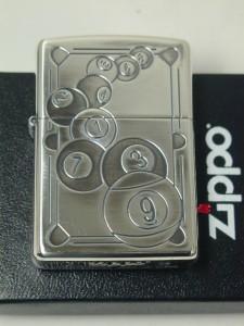 ジッポーZippo ビリヤード・プールプレーヤー銀シルバー(両面)9ボール