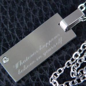 【snt18】CZダイヤ付高級ステンレスネックレス★刻印「どんな時も自分の力を信じる」●snt