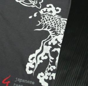 """【1】和柄Tシャツ """"雲龍""""【メール便対応/若き着物職人が創作する手染和柄/新撰組でお馴染みの壬生からお届け】"""