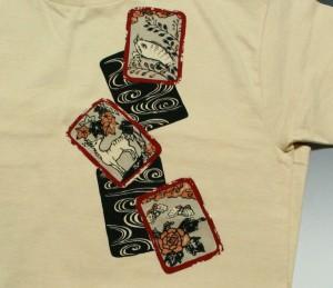 """【1】和柄Tシャツ""""花札""""【メール便対応/若き着物職人が創作する手染和柄/新撰組でお馴染みの壬生からお届け】"""