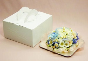 フラワーケーキ・ホワイトブルー