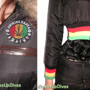 DIVAS☆ラスタジャマイカ♪ガンジャワッペン中綿ファージャケットコート【OUT9A1】