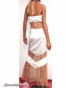 DIVASオリジナル☆シルクサテン花殻ゴールドレース♪ホルターネックロングドレス,キャバ,大きいサイズ〜11号L位まで