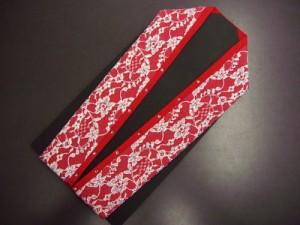 振袖成人式&卒業式袴・着物に ラインストーンとレースの重ね衿伊達襟赤