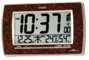 リズム時計工業 CITIZEN シチズン デジタル電波壁掛け時計 パルデジットR082 8RZ082-023 茶色木目仕上げデジタル