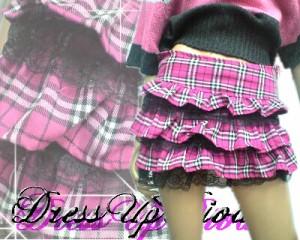 倖田來未風!三段フリル☆裾レース激可愛♪ヒラミニチェック柄スカート【BOTS9A12】