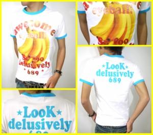 vバナナ&ゴールド★リンガーTシャツ☆白×サックス(型番920s9126)