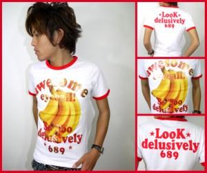 メール便なら送料無料!バナナ&ゴールド★リンガーTシャツ☆白×赤(型番920s9126)