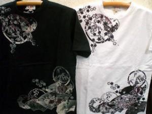 華鳥風月 半袖Tシャツ 御所車刺繍