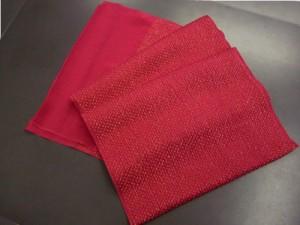 金通しふくれ織正絹帯揚げ帯上げ赤色 振袖成人式&着物に