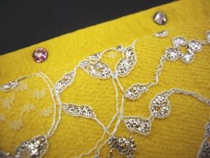 振袖成人式&卒業式袴・着物に ラインストーンとレースの重ね衿伊達襟レモン黄色