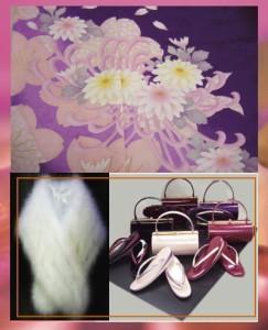 セミオーダー正絹振袖ぜ〜んぶ揃った豪華フルセット★濃紫地桜菊
