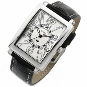 ミッシェル ジョルダン/MICHAEL JURDAIN メンズ腕時計 5Pダイヤ ホワイト文字盤 ブラックレザーベルト SG-3000-3
