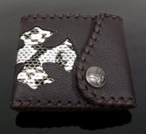 【farian】メンズサイフ 牛革×蛇革 二つ折り財布【送料無料】CL-250